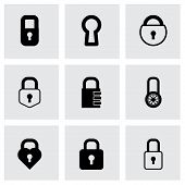 Vector black locks icons set