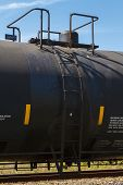 Side View Of A Railroad Tank Car Valve Dome And Ladder