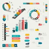Collection of colorful flat infographic elements. Business vector shapes.