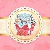Strawberry jam retro background