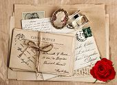 Old French Post Cards And Rose Flower