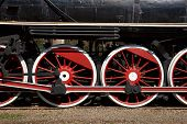picture of train-wheel  - Wheels of a historic steam train in Parque Quinta Normal in Santiago - JPG