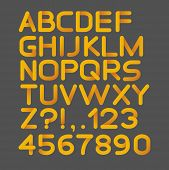 Paper yellow strict alphabet rounded. Isolated on black. Bold. Vector illustration