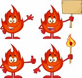 Flame Cartoon Character 3. Collection Set