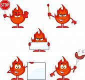 Flame Cartoon Character 4. Collection Set