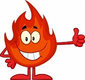 Flame Cartoon Mascot Character Giving A Thumb Up
