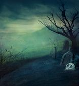 image of castle  - Halloween design background with spooky graveyard naked tree and graves - JPG