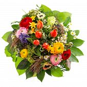 Bouquet Of Colorful Spring Flowers Isolated On White
