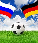 Football Field And Naional Flags Of Germany And Russia