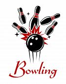 foto of bowling ball  - Expressive bowling emblem or logo with smashing ball and ninepins isolated on white colored background for sport or recreation design - JPG