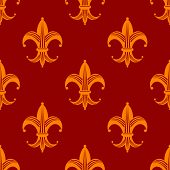 Seamless fleur de lys royal orange pattern