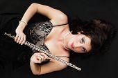 Art. Woman Flutist Flautist With Flute. Music.