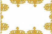 Vintage Gold Picture Frame Isolated On White Background