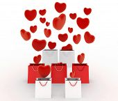 Hearts falling into gift bags. 3d render illustration on white background