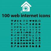 100 black website internet icons, illustrations, signs, symbols set, vector