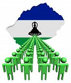 Lines of people with Lesotho map flag illustration