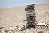 picture of fulcrum  - Pebbles in balancing on the sea coast - JPG