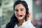 Customer Service worker, call center ,operator with headset