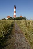 Westerhever (germany) - Light House And Path Of Clinker Bricks