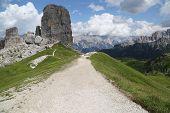 Path trail to Cinque Torri, Dolomites