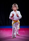 stock photo of aikido  - Little boy aikido fighter on black - JPG