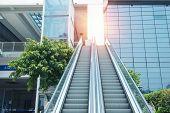 Escalator at modern business center