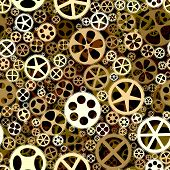 Seamless Background Of Bronze Gears Wheels.