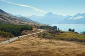 Scenic Road to Mount Cook National Park, New Zealand