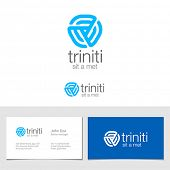 Logo corporate business abstract triple looped infinite shape vector design. Trinity Web logotype id