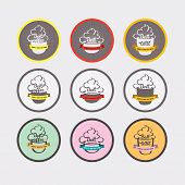 Set of Coffee drinking cup sizes in vintage style stylized