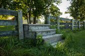 Steps Through Fence From Field