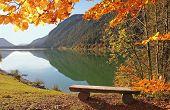 Bavarian Lake Sylvenstein In Autumn