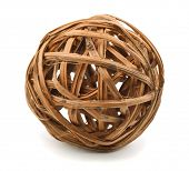 Decorative wooden wicker sphere isolated on white