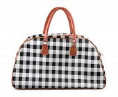 Checkered travel bag isolated on white