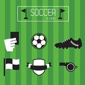 Black and white soccer icons set on green stripe background