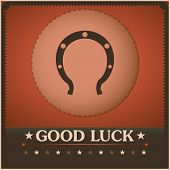Good Luck Horseshoe Vintage poster. Illustration