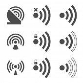 Wifi set icon for radio waves isolated on white background. illustration.
