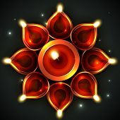 Vector background of decorative diya