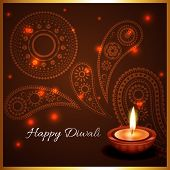 Vector artistic background of diwali diya