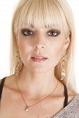 Close Up Woman Long Dangle Earrings