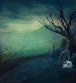 pic of halloween  - Halloween design background with spooky graveyard naked tree and graves - JPG