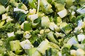 image of green onion  - Summer salad from eggs a cucumber green onions and fennel - JPG