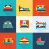 image of bed breakfast  - Vector flat bed icon set simple style - JPG