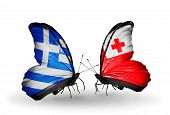 Two Butterflies With Flags On Wings As Symbol Of Relations Greece And Tonga