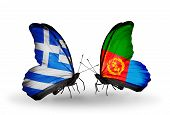 stock photo of eritrea  - Two butterflies with flags on wings as symbol of relations Greece and Eritrea - JPG