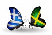 Two Butterflies With Flags On Wings As Symbol Of Relations Greece And Jamaica