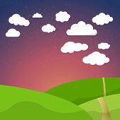 Cartoon Retro Night Sky With Field Clouds and Stars Background V