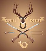 picture of deer head  - Deer hunter vintage set with deer head and weapons - JPG