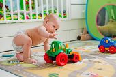 image of pretty-boy  - kid boy toddler playing toys at home - JPG