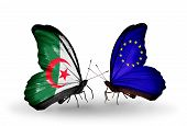 Two Butterflies With Flags On Wings As Symbol Of Relations Algeria And European Union